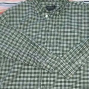 Men's green plaid Oxford shirt